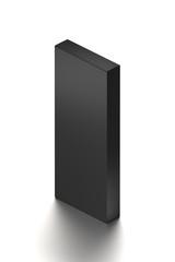 Black horizontal blank box from isometric angle. 3D illustration isolated on white background.