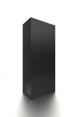 Black vertical blank box from front side angle. 3D illustration isolated on white background.