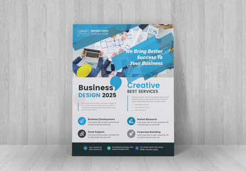 Business Flyer With Blue Accents