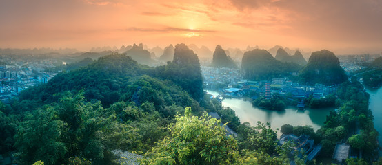 Photo sur cadre textile Guilin Li River and Karst mountains Guilin, Yangshuo