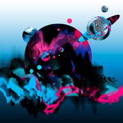 Illustrazione astratta surreale con mondo e pianeti colorati fluttuanti nello spazio