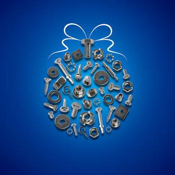 bolts, nuts, nails, screws, tools christmas decorations blue