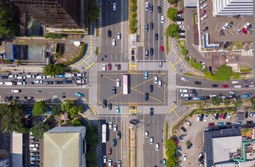 Vehicle on crossroads in Jakarta city - fototapety na wymiar