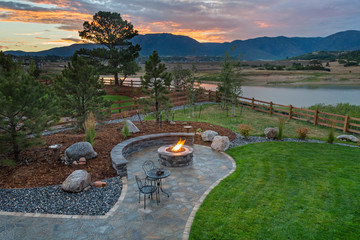 Amazing Backyard with Fire Pit Wall mural