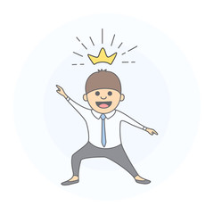 King businessman. Young businessman celebrates success as king. Hand drawn style, vector illustration.