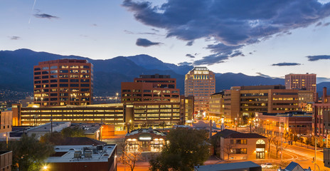 Downtown Colorado Springs at Dusk Wall mural