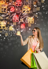 big sale gift and shopping woman