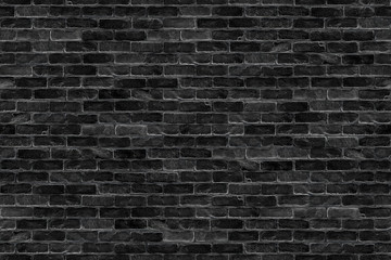 seamless old dark black brick wall infinity texture design pattern background