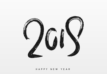 2019 Happy New Year. Written text calligraphy in black ink brush.