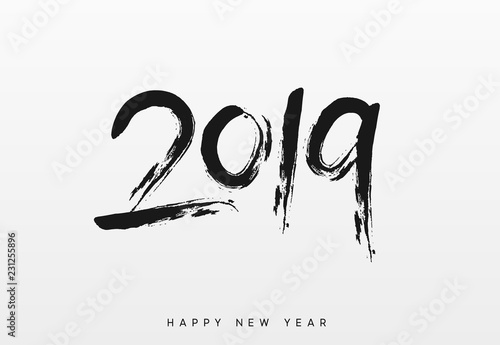 2019 Happy New Year  Written text calligraphy in black ink