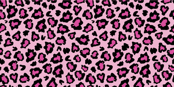 Pink and black leopard skin fur print pattern. Great for classic animal product design, fabric, wallpaper, backgrounds, invitations, packaging design projects. Surface pattern design.
