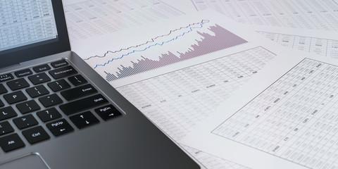 Obraz Laptop and  financial report - fototapety do salonu