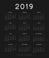 Simple spanish calendar for 2019 years, week starts on Monday
