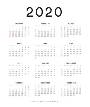 English calendar for 2020 years