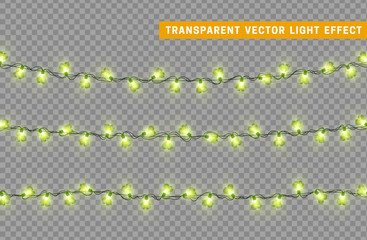 Garlands color green isolated vector, Christmas decorations lights effects. Glowing lights for Xmas Holiday.