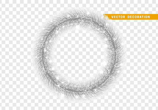 Christmas traditional decorations, silver lush tinsel. Xmas circle wreath garland, isolated realistic decor element