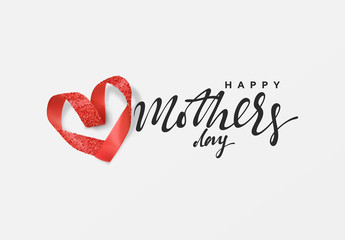 Happy Mother Day. Design red ribbon heart shape. Greeting card, banner, poster, vector illustration