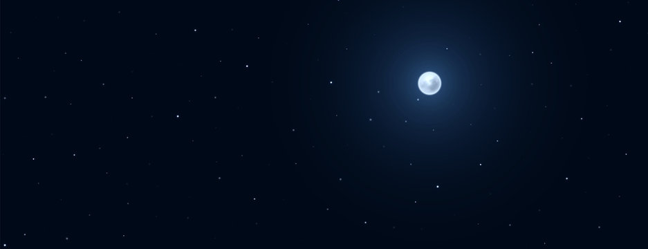 Night background with full moon on starry background.