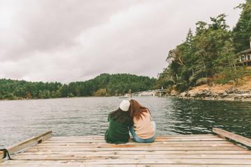 two women on a dock