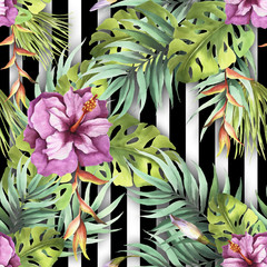 Wall Murals Botanical Seamless pattern with watercolor exotic flowers and leaves on abstract white black geometric background.