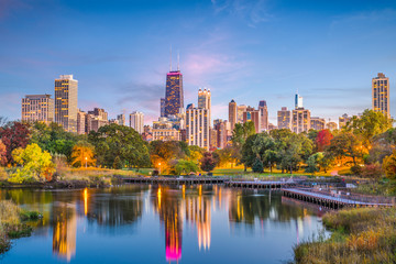 Fototapete - Lincoln Park, Chicago, Illinois Skyline