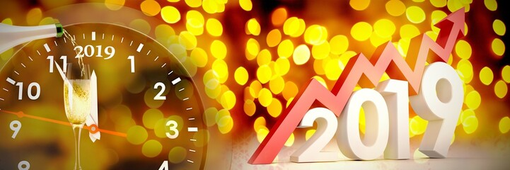 Composite image of three dimensional new year numbers with arrow