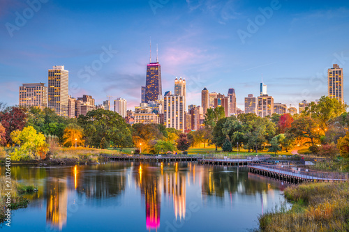 Wall mural Lincoln Park, Chicago, Illinois Skyline