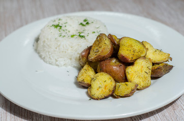 garnish, rice, potatoes