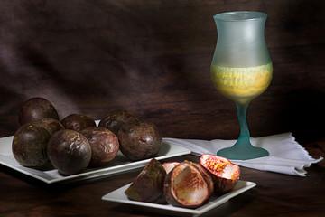 juice of gulupa- Passiflora pinnatistipula with the empty peels on the side