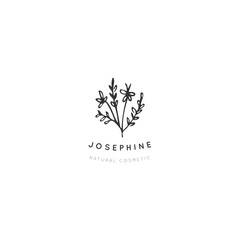 Vector hand drawn floral logo template in minimal style.