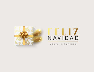 Spanish text Feliz Navidad. Vector illustration letttering Merry Christmas, gift box closed wrapped ribbon with bow. Xmas greeting card, banner, poster.