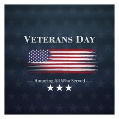 veterans day, November 11, honoring all who served, posters, modern brush design vector illustration