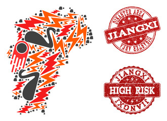 Disaster composition of mosaic Map of Jiangxi Province and unclean stamps. Vector red watermarks with grunge rubber texture for high risk regions. Flat design for black swan illustrations.