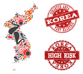 Disaster collage of mosaic map of Korea and scratched seals. Vector red watermarks with scratched rubber texture for high risk regions. Flat design for disaster purposes.