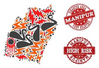 Disaster composition of mosaic map of Manipur State and rubber seal stamps. Vector red watermarks with scratched rubber texture for high risk regions. Flat design for disaster purposes.