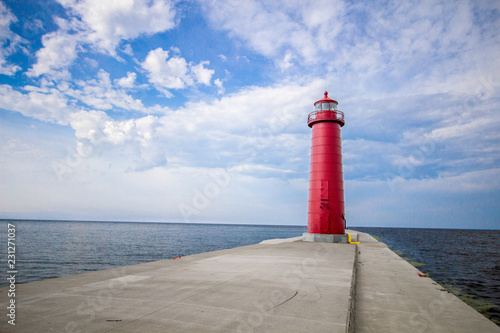 Lighthouse Background With Copy Space  Grand Haven Michigan