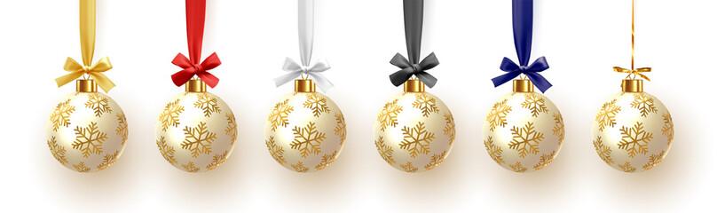 Christmas balls on ribbon isolated on white background. Xmas decoration bauble