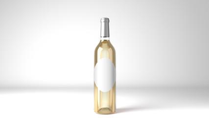 White Wine Bottle Oval Label Mockup 3d Render