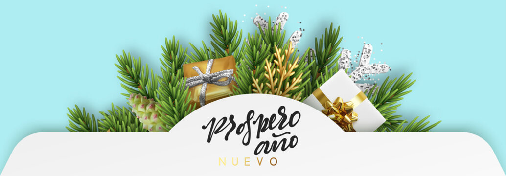 Spanish text Prospero ano Nuevo. Feliz Navidad. Christmas vector banner, with holiday objects. Background with gift box and fir branches design. Xmas decoration elements.