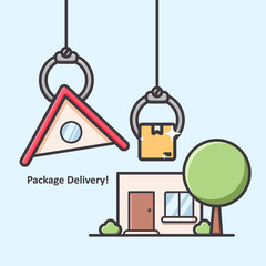 Package box delivery by robot claw grabber hand direct into house or home illustration