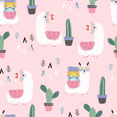 Pink hand drawn cute seamless pattern with llama,wing, heart glasses,geometric,cactus in summer