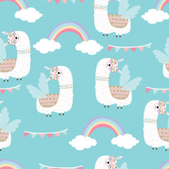 Blue hand drawn cute seamless pattern with llama,wing, heart glasses,rainbow,flag in summer