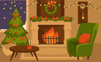 Christmas winter holidays, furniture and interior of rooms vector.
