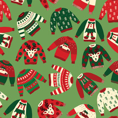 Ugly Christmas sweaters seamless vector pattern. Knitted winter jumpers with norwegian ornaments and decorations. Holiday background green, red, white for fabric, gift wrap, greeting cards, posters