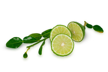 bergamot fruit, Kaffir Lime isolated on white