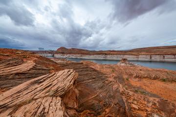Fototapete - Storm over Lake Powell