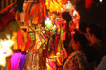 Pune, India - November 2018: Indian people shopping for traditional lanterns for the Diwali festival in India.