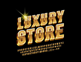 Golden border and pattern chic Logo for Luxury Store. Vector set of Alphabet Letters, Numbers and Punctuation Symbols. Rotated exclusive Font.