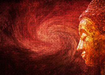 Illustration of Buddha statue with abstract painting background