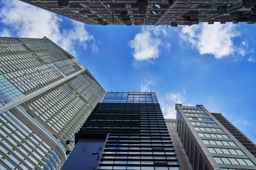 perspective building with blue sky and cloud